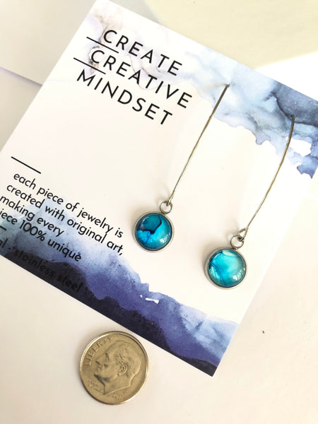Long Drop Earrings - Blue - Stainless Steel - 10MM