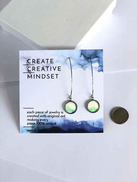 Long Drop Earrings - Green & White - Silver - 12MM