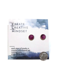 Stud Earrings - Purple - Gold - 10MM