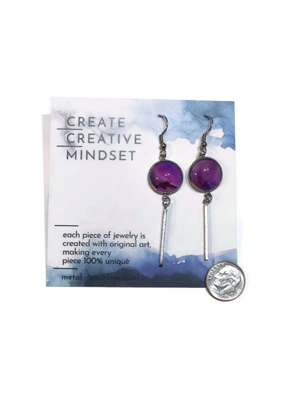 Dangle Earrings - Purple - Silver - 14MM