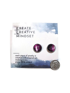 Stud Earrings - Purple & White - Silver - 14MM