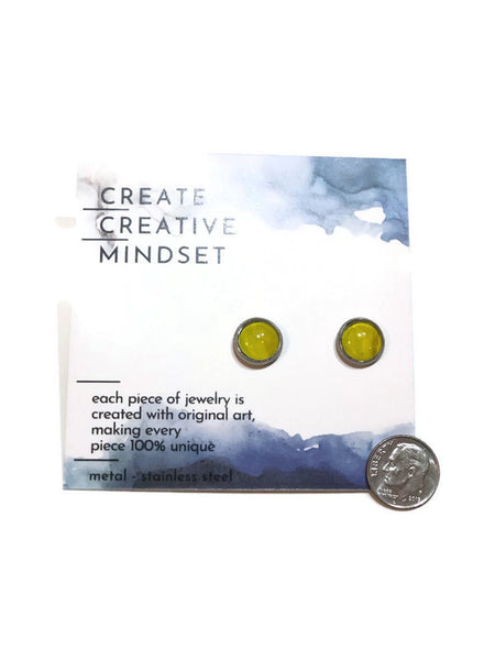 Stud Earrings - Light Green - Silver - 10MM