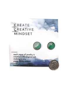 Stud Earrings - Mint & Green - Silver - 12MM