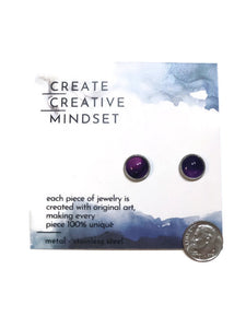 Stud Earrings - Deep Purple - Silver - 10MM