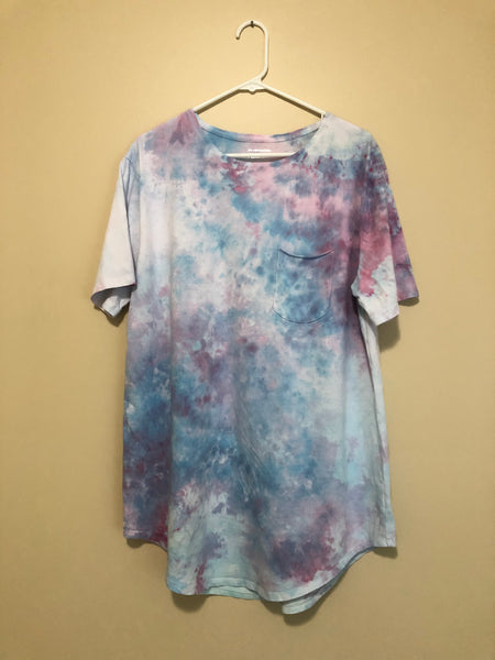 Iced Tie Dye Oversized Shirt - Blue, Pink, & White - L