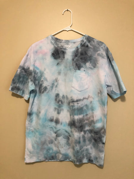 Iced Tie Dye Ribbed Tee - White, Blue, & Grey - S