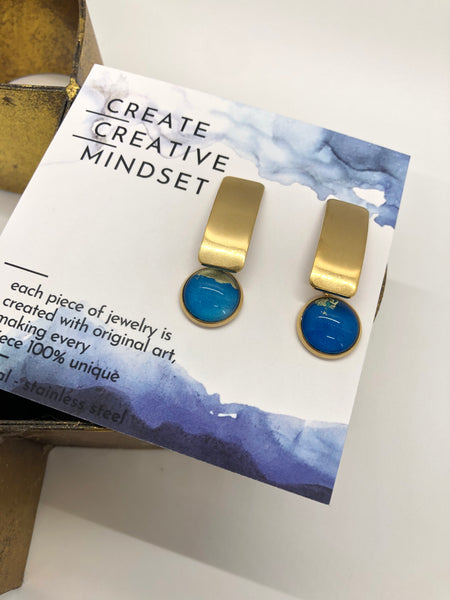Thick Rectangle Earrings - Blue - Gold- 12MM