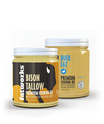 Grass Fed Bison Tallow (7.5 oz) & Pasture Raised Duck Fat (7.5 oz)