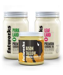 Combo Pack- Grass Fed Bison Tallow (7.5 oz), Pasture Raised Pork Lard (14 oz) & Pasture Raised Leaf Lard (14 oz) - Fatworks: The Defenders of Fat!
