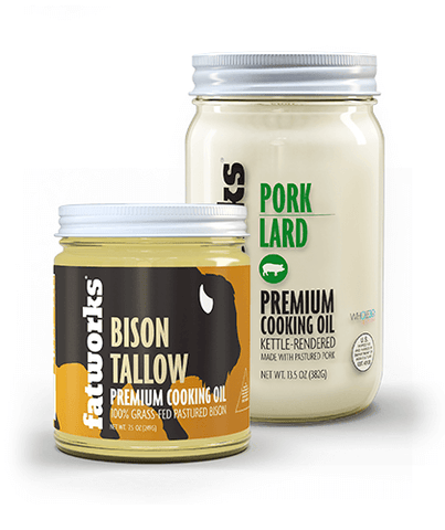 Combo Pack- Grass Fed Bison Tallow (7.5 oz) & Pasture Raised Pork Lard (14 oz)