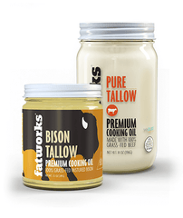 Combo Pack- Grass Fed Bison Tallow (7.5 oz) & Grass Fed Beef Tallow (14 oz) - Fatworks