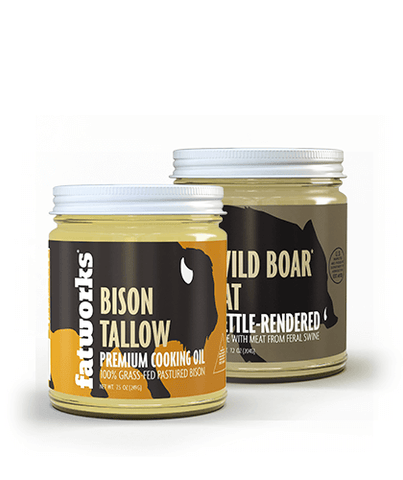 Combo Pack- Grass Fed Bison Tallow (7.5 oz) & Wild Boar Lard (7.5 oz)