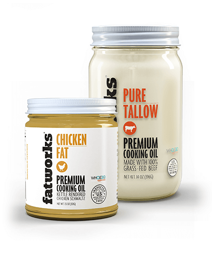Combo Pack- Organic Chicken Fat (7.5 oz) & Grass Fed Beef Tallow (14 oz) - Fatworks: The Defenders of Fat!