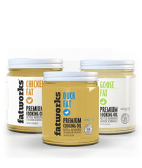 Combo Pack- Pasture Raised Duck Fat (7.5 oz), Organic Chicken Fat (7.5 oz) & Pasture Raised Goose Fat (7.5 oz) - Fatworks