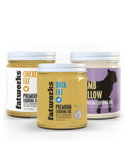 Combo Pack- Organic Chicken Fat (7.5 oz), Grass Fed Lamb Tallow (7.5 oz) & Cage Free Duck Fat (7.5 oz)