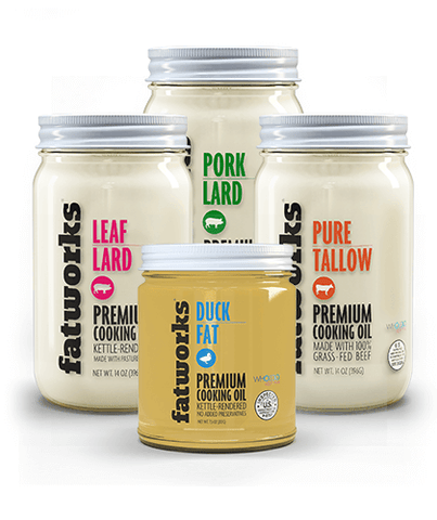 Combo Pack-Grass Fed Beef Tallow (14 oz), Pasture Raised Pork Lard (14 oz), Pasture Raised Leaf Lard (14 oz) & Cage Free Duck Fat (7.5 oz)