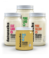 Combo Pack-Grass Fed Beef Tallow (14 oz), Pasture Raised Pork Lard (14 oz), Pasture Raised Leaf Lard (14 oz) & Cage Free Duck Fat (7.5 oz) - Fatworks