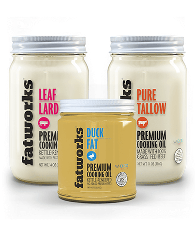 Combo Pack- Pasture Raised Duck Fat (7.5 oz), Grass Fed Beef Tallow (14 oz) & Pasture Raised Leaf Lard (14 oz)