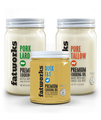 Combo Pack- Grass Fed Beef Tallow (14 oz), Pastured Pork Lard (14 oz) & Cage Free Duck Fat (7.5 oz) - Fatworks: The Defenders of Fat!