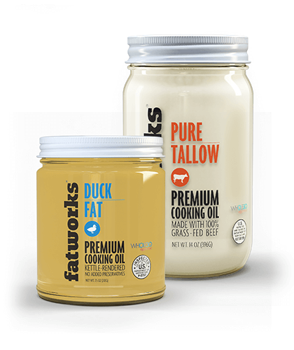 Combo Pack- Grass Fed Beef Tallow (14 oz) & Cage Free Duck Fat (7.5 oz) - Fatworks: The Defenders of Fat!