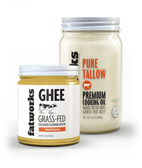 Combo Pack- Grass Fed Beef Tallow (14 oz) & Organic Grass Fed Cultured Cow Milk Ghee (7.5 oz) - Fatworks