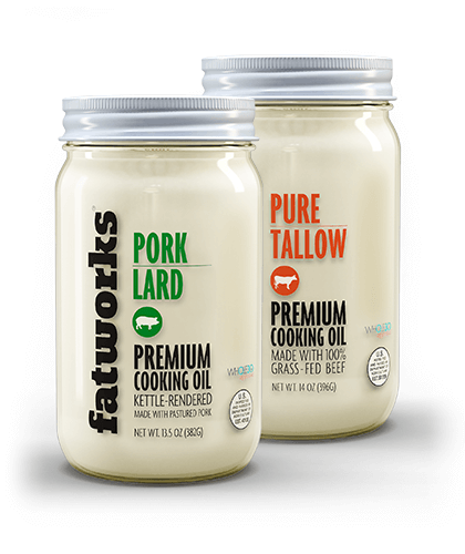 Combo Pack- Grass Fed Beef Tallow (14 oz) & Pasture Raised Pork Lard (14 oz) - Fatworks: The Defenders of Fat!