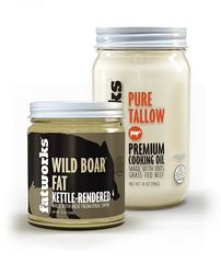 Combo Pack- Grass Fed Beef Tallow (14 oz) & Wild Boar Lard (7.5 oz) - Fatworks: The Defenders of Fat!