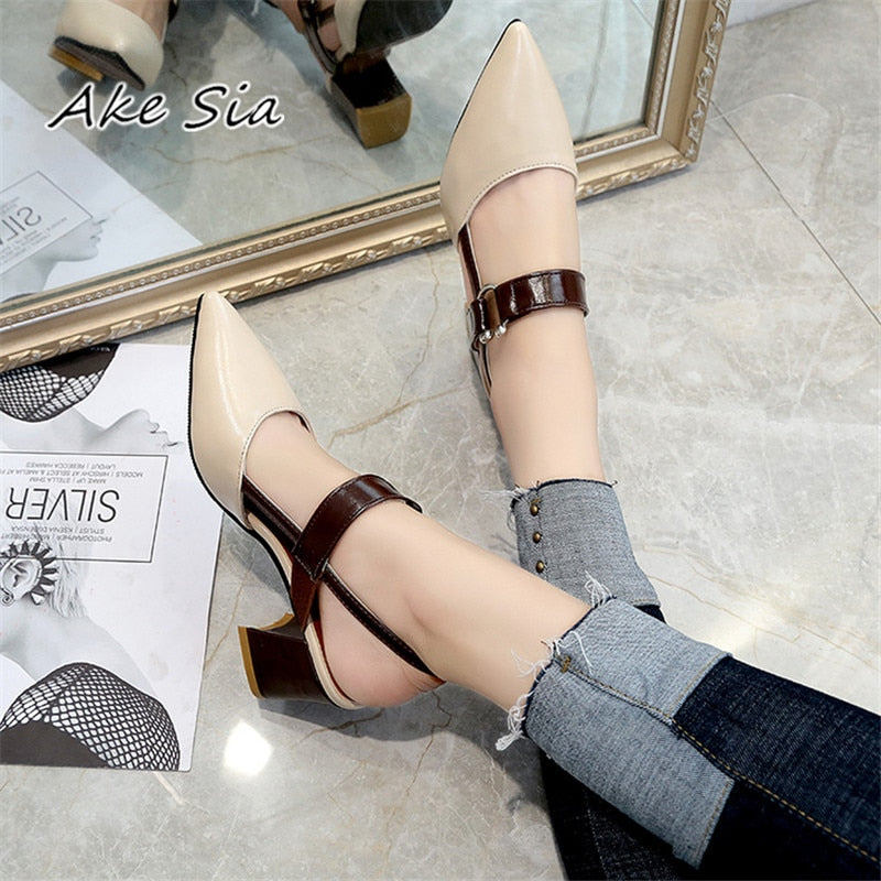 a-b-kicks - 2019 spring hollow coarse sandals high-heeled shallow mouth pointed pumps shoes women Female sexy high heels large size mujer - a.b. kicks -
