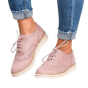 a-b-kicks - CYSINCOS Non-slip Sneakers Women Leather Platform Shoes Women Casual Shoes Flats Leather Shoes Cut-Outs Flat Plus Size 35-43 - a.b. kicks -