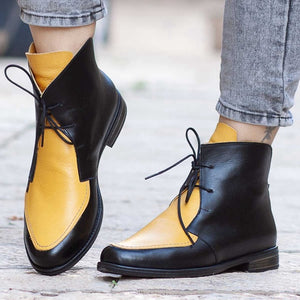 a-b-kicks - WENYUJH Plus Size Ankle Boots Women Platform Lace Up Buckle Shoes Thick Heel Short Boot Ladies Casual Footwear Drop Shipping - a.b. kicks -