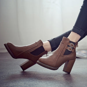 a-b-kicks - Square Heel Ankle Boots Zapatos De Mujer Botas Size 35-43 2018 New Autumn and Winter Boots Button High Heels Shoe Fashion L237 - a.b. kicks -