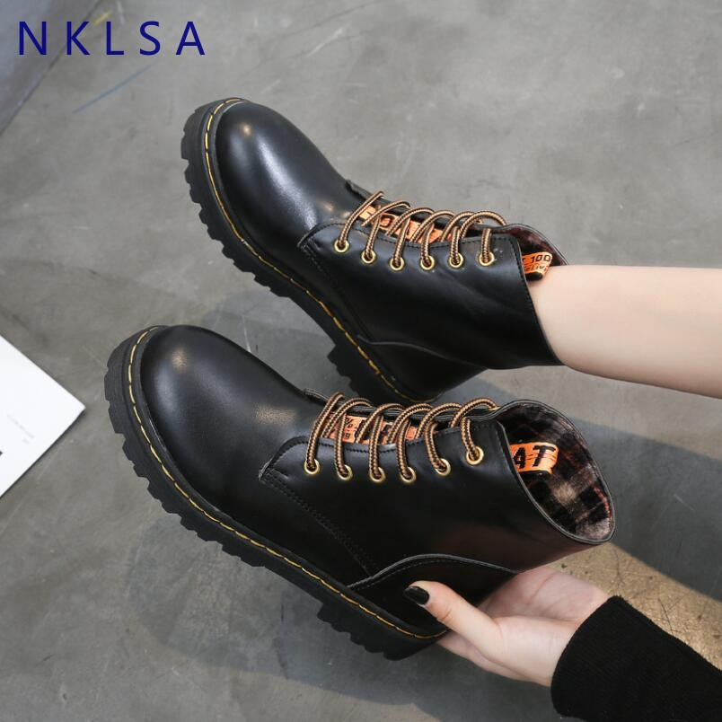 a-b-kicks - NKLSA Boots Women Fashion Solid Leather Middle Lace-Up Thick Martin Boots Round Toe Shoes Outdoor Leather Winter Female Shoes - a.b. kicks -