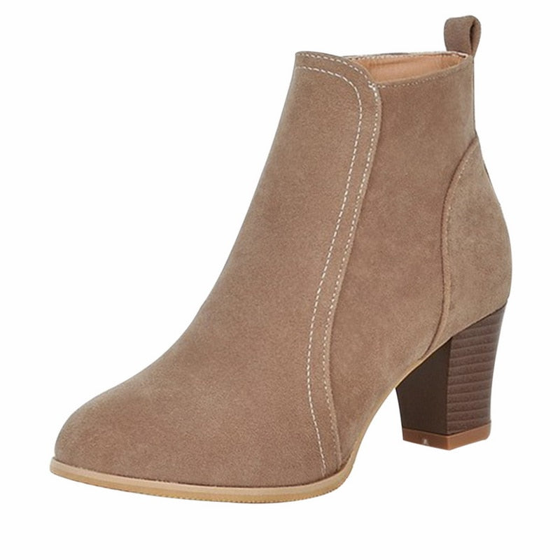 a-b-kicks - SHUJIN Women Ankle Boots 2019 fashion suede leather boots high heel ladies shoes ankle boots for women Shoes Dropshipping - a.b. kicks -