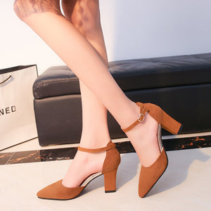 a-b-kicks - HOT SummerSandalias Femeninas High Heels Flock Pointed Sandals Sexy Female Summer Shoes Mujer Zapatos Mujer Pumps 659 - a.b. kicks -