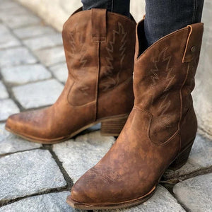 a-b-kicks - Women Classic Embroider Western Cowboy Boots Ladies Mid Heels Women's Slip On Woman Mid-calf Boots Female Shoes Botas Mujer - a.b. kicks -