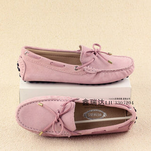 a-b-kicks - 2019 Genuine Leather Women Flat Shoes Casual Loafers Slip On Women's Flats Shoes Moccasins Lady Driving Shoes - a.b. kicks -