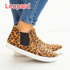 a-b-kicks - MoneRffi Flats 2019 Women Leaopard Women Sneakers Flats Women Canvas Casual Shoes Platform Spring High Top Slip-on Breathable - a.b. kicks -