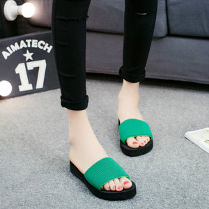 a-b-kicks - Summer Slippers Women Platform Bath Slippers Wedge Beach Flip Flops High Heel Slippers for Women Brand Black EVA Ladies Shoes - a.b. kicks -