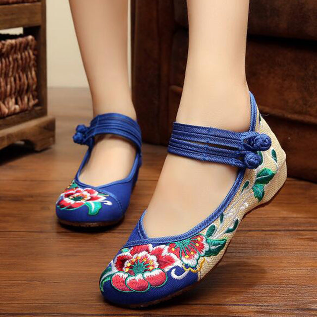 Chinese Shoes Women Embroidery Mary Jane Fabric Flats Traditional Embroidered Old Peking Flower Canvas Casual Large Size - a.b. kicks