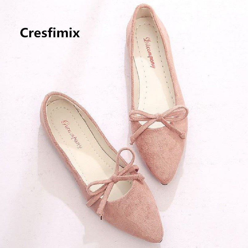 a-b-kicks - Cresfimix zapatos de mujer women soft comfortable pink slip on flat shoes lady casual pointed toe shoes female cool shoes c2080 - a.b. kicks -