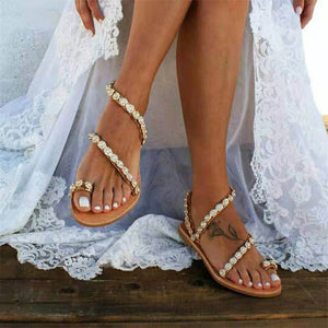 a-b-kicks - Women Sandals Gladiator 2019 Summer Casual Shoes Bohemia mujer Wedding Shoes Crystal feminina Ladies Flip Flops Beach Sandals - a.b. kicks -