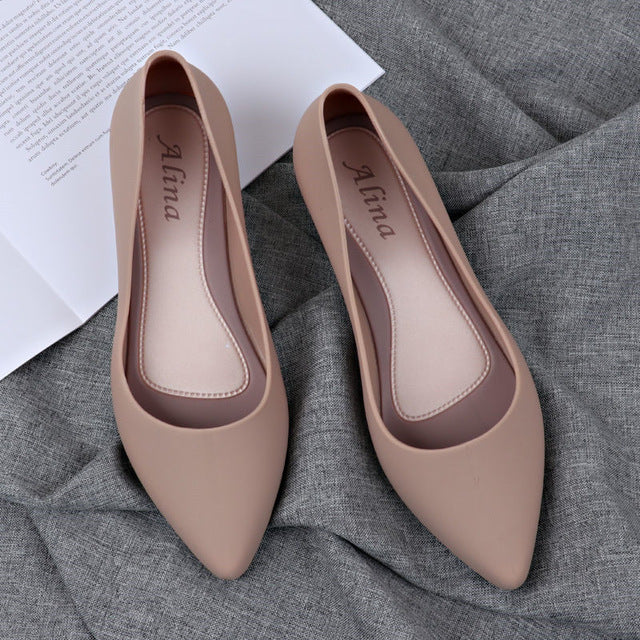 a-b-kicks - Pointed Shallow Wedges pumps women shoes 2019 spring autumn shoes women Elegant Casual Work Low heel Slip Casual ladies shoes - a.b. kicks -
