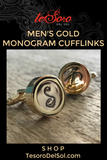 Men's Personalized Gold Initial Cufflinks