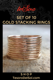 Set of 10 Gold Stacking Rings
