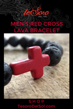 Men's Black Lava Cross Bracelet