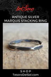 Antique Sterling Silver Hammered Marquis Ring