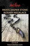 Men's Jasper Stone Rosary Necklace
