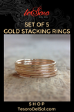 Set of 5 Gold Stacking Rings