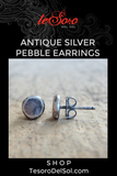 Antique Sterling Silver Pebble Earrings