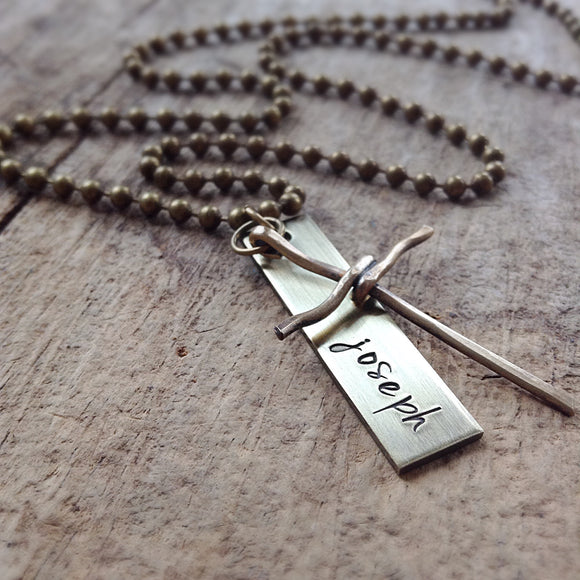 Men's Brass Cross Name Necklace - TesoroDelSol